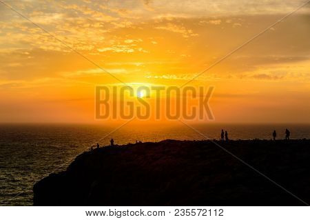 Nice Sunset In The Southwest Of The Island Of Formentera, From The Viewpoint Near The Barbaria Light