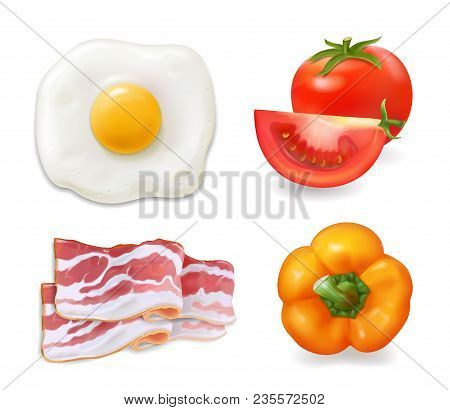 Scrambled Eggs, Bacon, Tomato Pepper. Omelette, Fried Eggs Ingredients Icons.