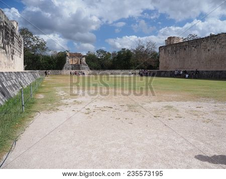 Ancient Ruins Of Great Ball Court Buildings On Chichen Itza City In Mexico, Largest, Most Impressive