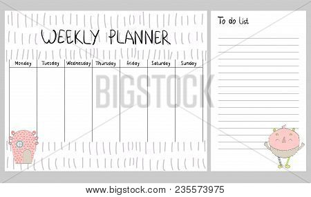 Hand Drawing Vector Weekly Planner With Monsters.