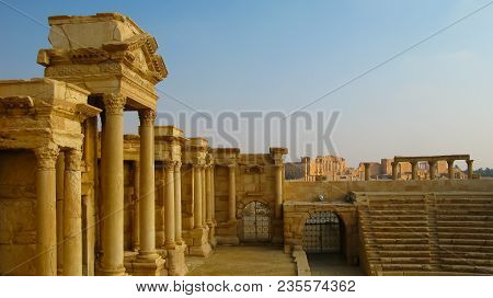 View To Palmyra Ancient Theatre At Tadmor, Syria