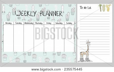 Hand Drawing Vector Weekly Planner With Cactuses And Giraffe.