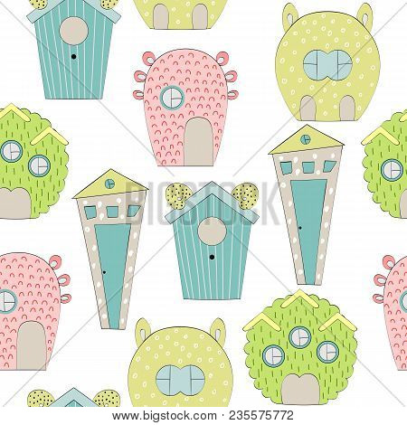 Seamless Pattern With Houses For Monsters On White Background