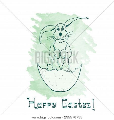 Funny Handdrawn Easter Bunny Standing on the Hind Legs in the Eggshell with Meek Attitude. Hand Drawn lettering Made in Hebrew Lettering Style. poster