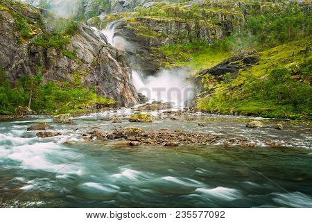 Norway. Beautiful Waterfall In Valley Of Waterfalls In Norway. Husedalen Waterfalls Were A Series Of