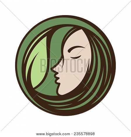 Best Creative Woman Face Icon Vector For Beauty Care, Yoga, Fashion And Cosmetic With Face And Leaf.