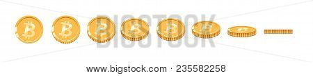 Bitcoin Gold Coin At Different Angles For Animation. Vector Bitcoin Set. Finance Money Currency Bitc