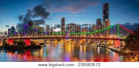 Brisbane. Cityscape Image Of Brisbane Skyline Panorama, Australia During Dramatic Sunset.