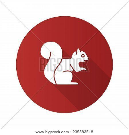Squirrel Flat Design Long Shadow Glyph Icon. Chipmunk. Vector Silhouette Illustration