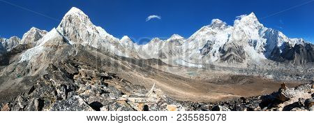 Panoramic View Of Mount Everest, Lhotse, Nuptse, Pumo Ri And Kala Patthar, Way To Everest Base Camp,