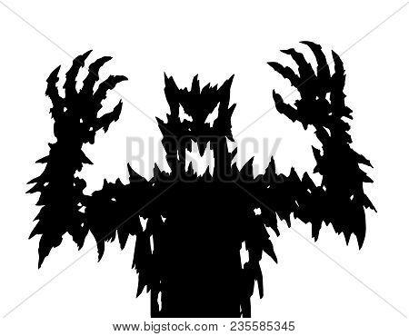 Angry Black Silhouette. Horror Genre. Vector Illustration