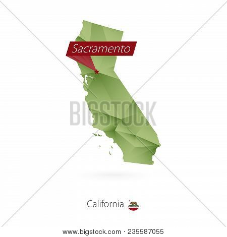 Green Gradient Low Poly Map Of California With Capital Sacramento