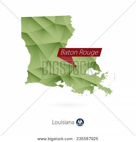 Green Gradient Low Poly Map Of Louisiana With Capital Baton Rouge