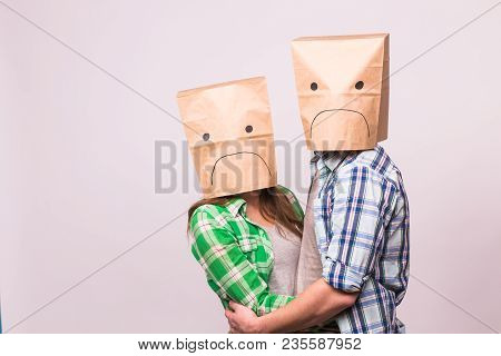 People, Relationship Difficulties, Conflict And Family Concept - Unhappy Couple Covering Their Faces