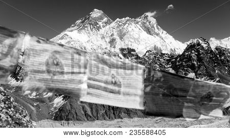 View Of Mount Everest And Lhotse With Buddhist Prayer Flags From Gokyo Ri, Way To Everest Base Camp,