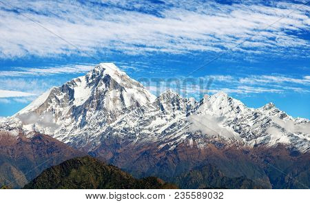 Panoramatic View From Jaljala Pass Of Dhaulagiri Himal With Clouds On Sky - Guerrilla Trek In Wester