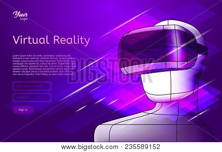 Virtual Reality Poster. Man In Vr Headset. Vector Illustration. Virtual World And Simulation In Ultr