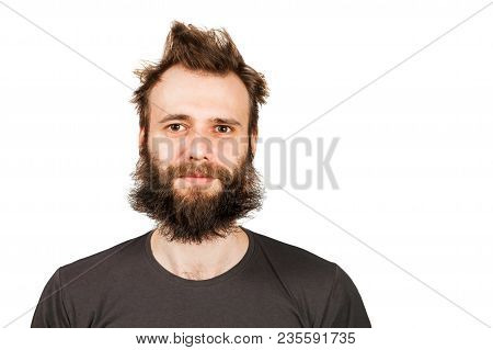 Portrait Of Young Bearded Man. Isolated On White.