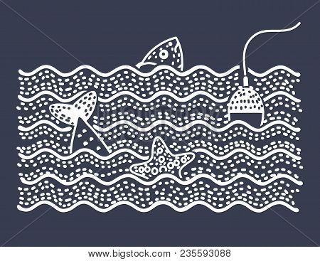 Vector Cartoon Illustration Of Illustration Of Fish And Float And Starfish. Fishing Trip. Black And