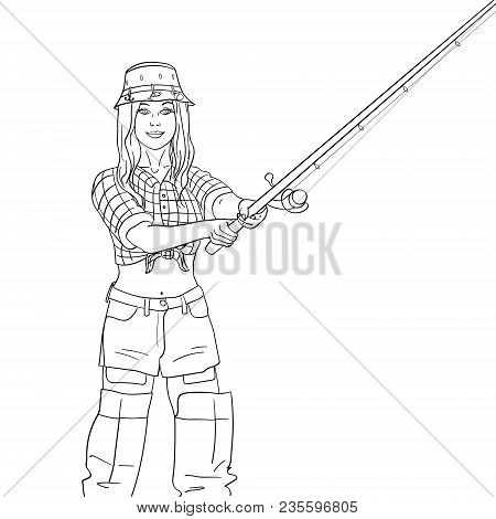 Woman Fisher On The River, Girl Fisherman. Object On White Background Vector Illustration. Angler St
