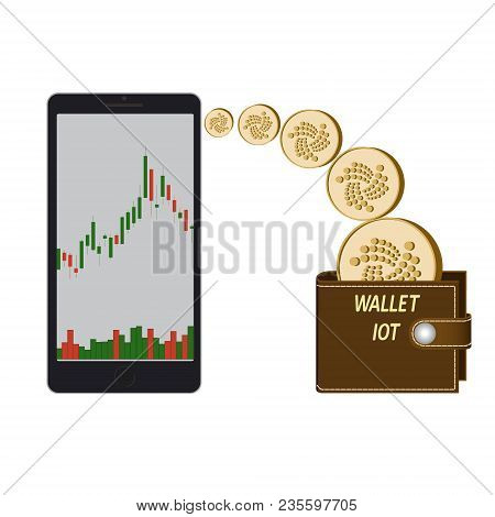 Transfer Iota Coins In The Electronic Wallet , Buying And Transfer Of Iota To Wallet On A White Back