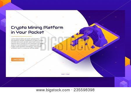 Isometric Crypto Mining Concept Banner. Concept Of Cryptocurrency Mining. Vector Illustration With D