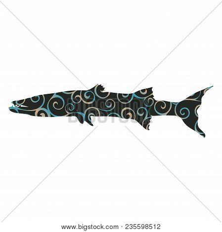 Barracuda Fish Spiral Pattern Color Silhouette Aquatic Animal. Vector Illustrator.