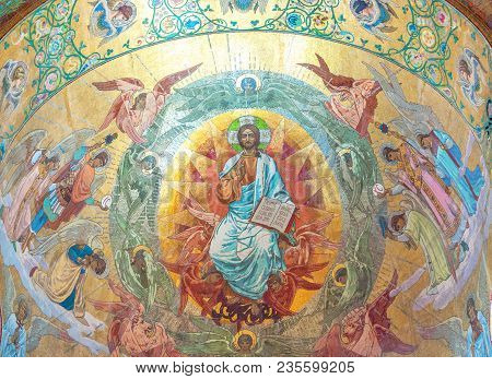 Christ In Glory, Artist Kharlamov. Painting Of The Plafond Of The Cathedral Of The Resurrection Of C