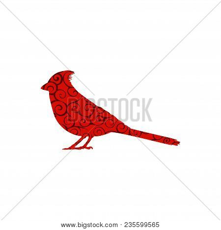Cardinal Bird Spiral Pattern Color Silhouette Animal. Vector Illustrator.