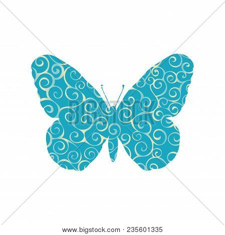 Butterfly Insect Spiral Pattern Color Silhouette Animal. Vector Illustrator.