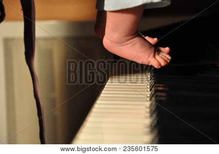 Electronic Piano With Cute Baby Feet, Barefoot