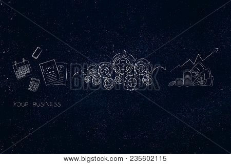 Business Success Mechanisms Conceptual Illustration: Business Documents Being Processed By Gearwheel
