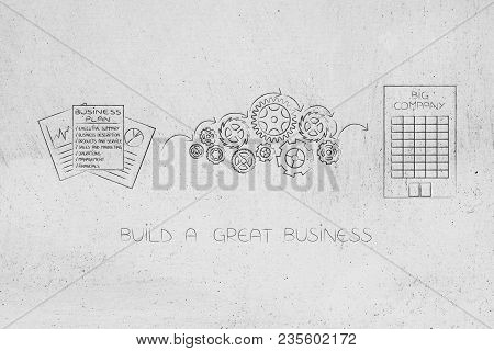 Business Success Mechanisms Conceptual Illustration: Business Plan Documents Being Processed By Gear