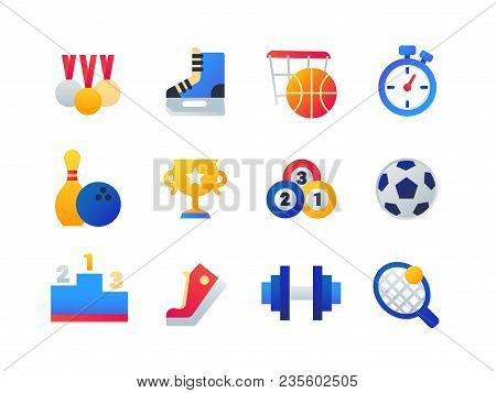 Sport - Set Of Flat Design Style Icons Isolated On White Background. Medals, Skates, Basketball, Tim