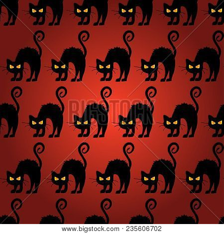 Abstract Seamless Halloween Cat Pattern For Girls Or Boys. Creative Vector Pattern With Cat, Cloud B
