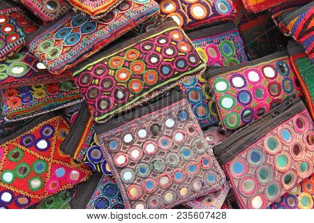 Purse Cosmetic Purses Are Bright And Colorful With Mirror Inserts Sold On The Market In India. Gift