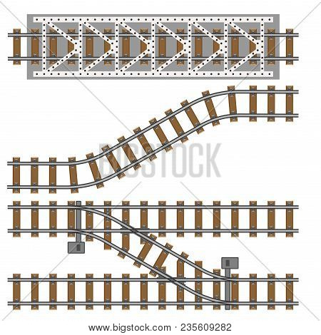 Vector Illustration Of Railway Gray Parts. Metro Engineering Construction. Industrial Work Repair Bu