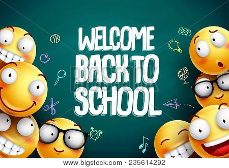 Smileys Back To School Vector Background Design. Yellow Smiley Emoticons With Welcome Back To School