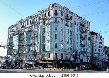Kyiv, Ukraine - April 8, 2018: Residential House At The Intersection Of Volodymyrska Street And Lev