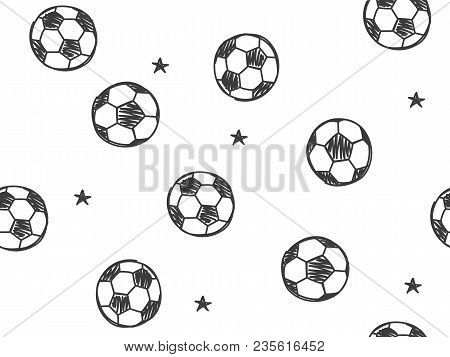 Hand Drawn Doodle Seamless Pattern With Soccer Balls On White Background