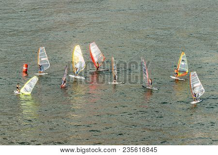 Funchal, Portugal - December 10, 2016: Windsurfers Learn To Drive A Sail In A Bay Of Funchal, Madeir