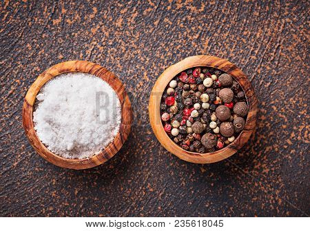 Salt And Pepper. Culinary Background. Top View