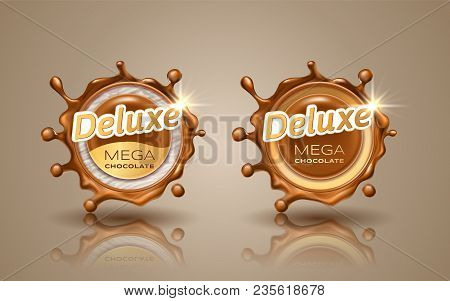Set Of Deluxe Design Labels In Gold Color Isolated On Background. Swirl Dynamic Splash Of Milk Choco