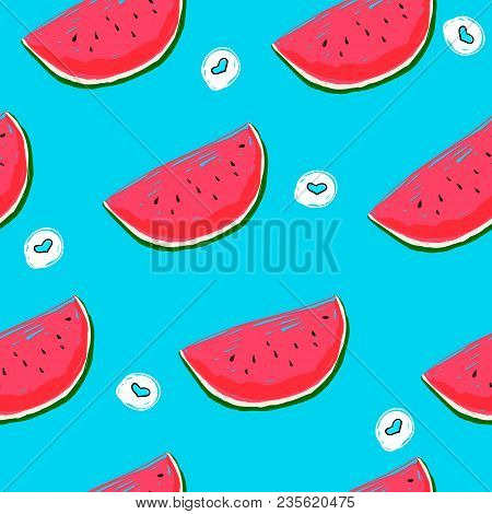 Seamless Cute Summer Pattern With Watermelon And Heart Shape On A Blue Background. Vector Cartoon Il