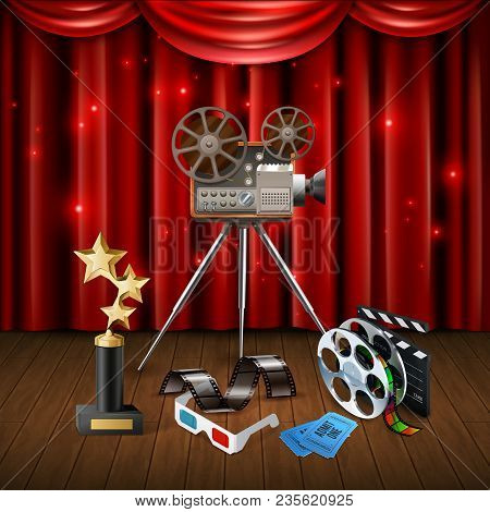 Realistic Cinema Background With Trophy 3d Glasses Camcorder Clapboard And Sparkling Red Curtain Vec
