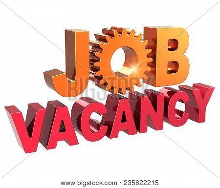 Job Vacancy Announcement Text Red Gear Wheel Golden. Unemployment Employment Opportunity Concept. Jo