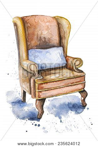 Vintage Armchair Of Sherlock Holmes With Pillow On Watercolor Splotches. Watercolor Hand Drawn Illus