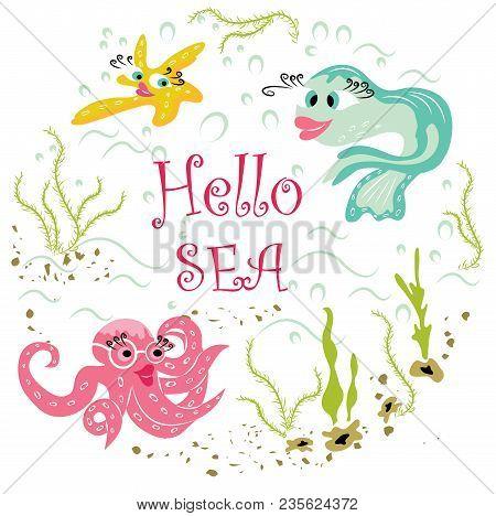 Beautiful, Modern Animals In Cartoon Style Under Sea Water:  Fish, Octopus, Starfish. Cute Sea Anima