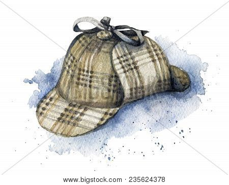 Vintage Hat Of Sherlock Holmes On Watercolor Splotches. Watercolor Hand Drawn Illustration