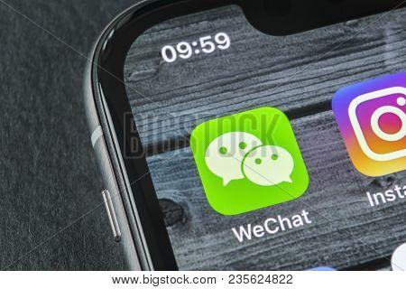 Sankt-petersburg, Russia, April 11, 2018: Wechat Messenger Application Icon On Apple Iphone X Smartp